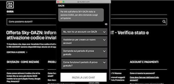 Contacta a DAZN por chat