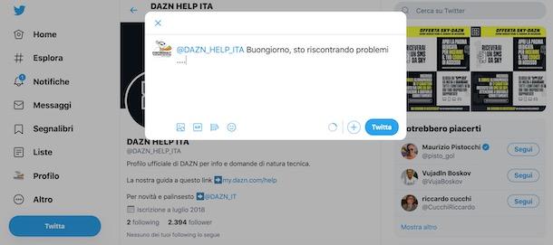 Soporte DAZN a través de Twitter