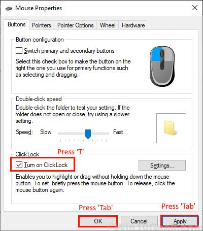 Gire el mouse de bloqueo de clic