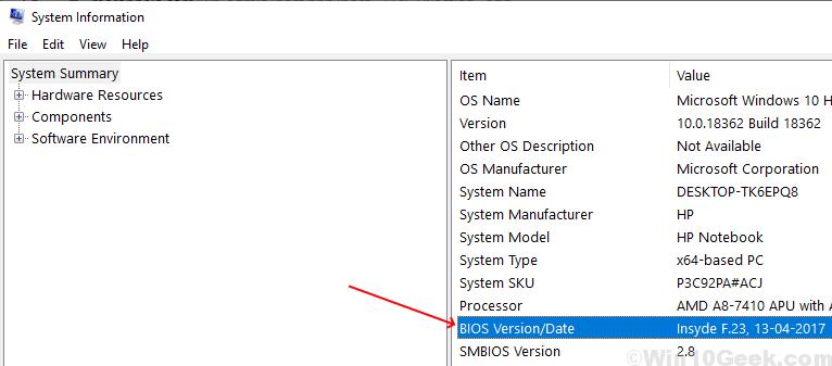 Detalles de la versión de BIOS