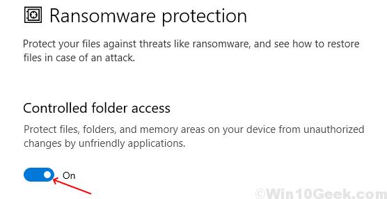 Protección contra ransomware habilitada