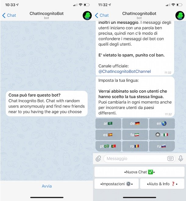 Chat anónimo en Telegram